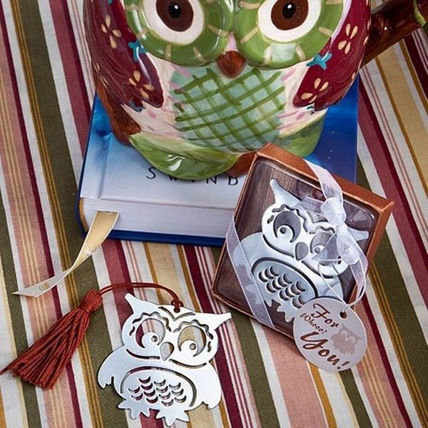 Owl Book Markers Birds with Tassels Metal Bookmark Stationery for Kids Gift
