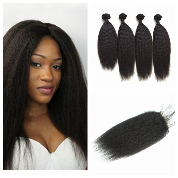 4x4 kinky straight lace closure with 4 bundles 5pcs lot virgin peruvian coarse yaki human hair weaves with closure G-EASY