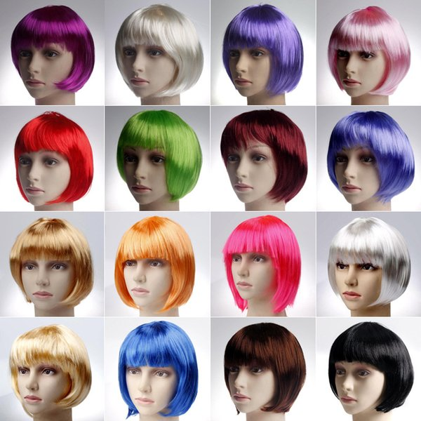 DHL Fashion BOBO style Short Party Wigs Candy colores Halloween Christmas Short Cosplay recto pelucas Party Fancy Dress Pelucas