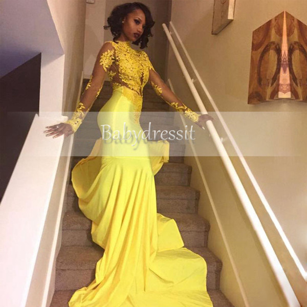 top popular 2019 Pretty Yellow African Lace Appliqued South African Prom Dress Mermaid Long Sleeve Banquet Evening Party Gown Custom Made Plus Size 2020