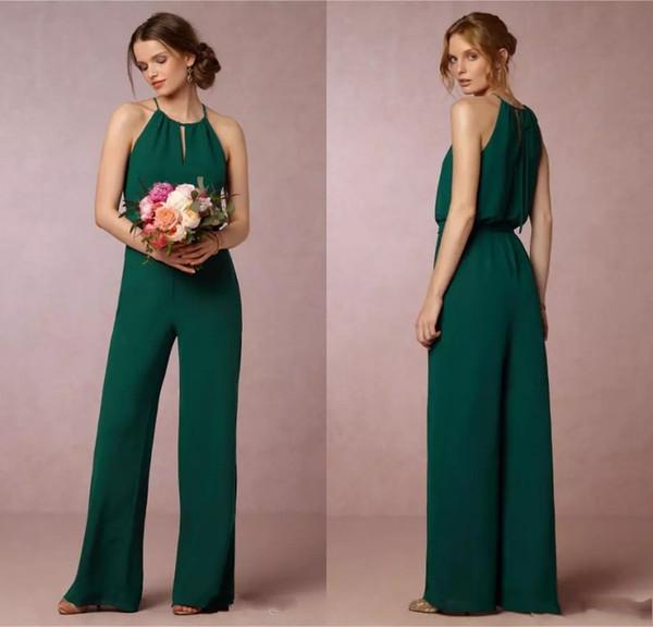 Vestidos de dama de honor de gasa de flujo verde oscuro barato 2017 elegante traje de pantalón de cintura del imperio vestidos de dama de Honor de la boda vestidos de invitados