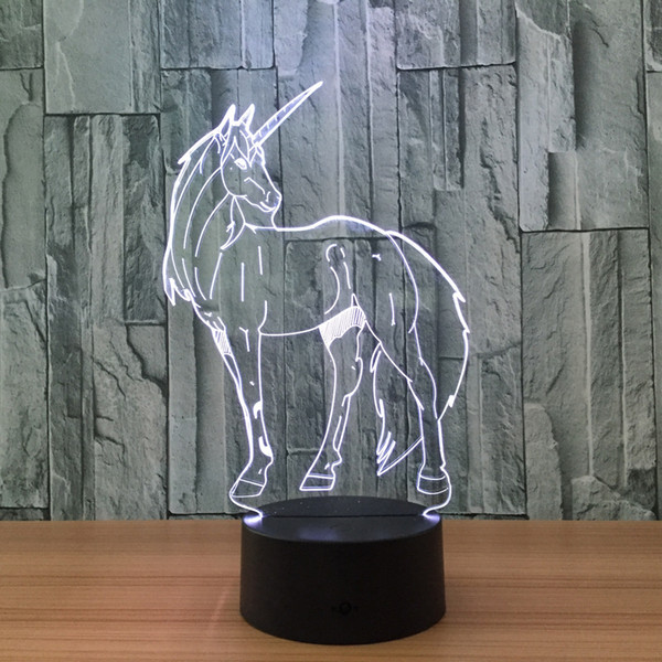 top popular 3D Unicorn Illusion Night Lamp 7 RGB Colorful Lights USB Powered with 5th Battery Bin Touch Button Factory Wholesale Dropshipping 2019