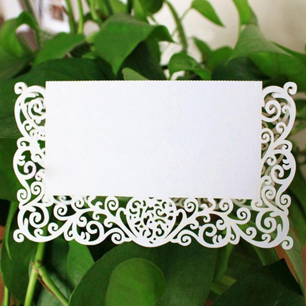 Lace Name Place Cards Wedding Party Table Chic Pearlescent Decor Table Name Message Beige White Greeting Card 50pcs/set