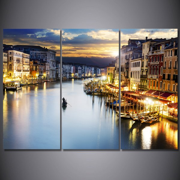 3 Pcs/Set Framed HD Printed City Boat Lake Picture Wall Art Canvas Print Decor Poster Canvas Modern Oil Painting