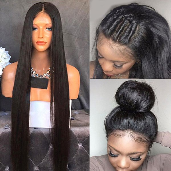 Straight Full Lace Wigs With Baby Hair For Black Women 8-26 Inch Brazilian Virgin Hair With Natural Hairline Bleached Knot