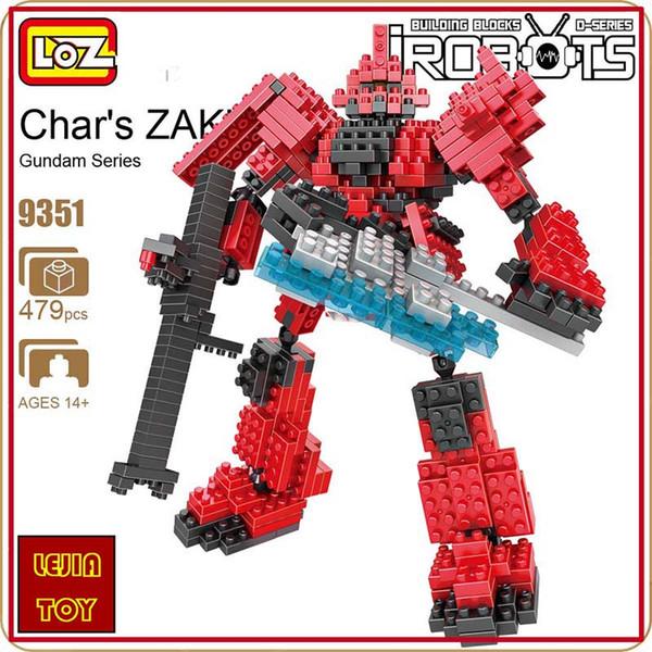 LOZ ideas Diamond Block Gundam Char's ZAKU Robot Action Figure Minifigures Model Building Blocks DIY Toy Micro Bircks Toys 9351