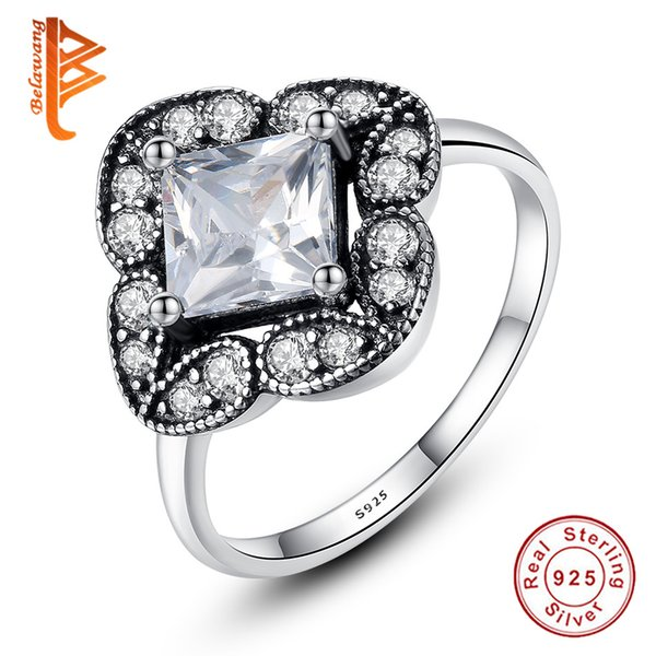 BELAWANG for Women 925 Sterling Silver Austrian Crystal Wedding Rings with White CZ Simulation Diamond Gemstone Rings Fashion Jewelry Gift