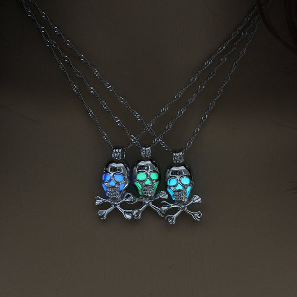 Halloween hot style skull necklace with clavicular collarbone head can open a pendant necklace free shipping