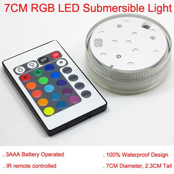 4 pz / lotto Multicolor sommergibile LED Vaso luce Base telecomando luce Centerpieces luce impermeabile per la decorazione della festa nuziale
