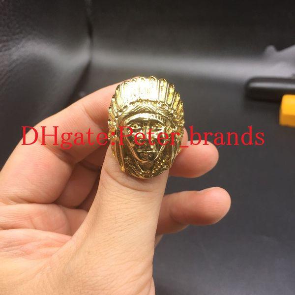Anello in acciaio inox placcato oro esagerato re faccia ring donne uomini ragazzo bling gotico indiano anelli testa rapper hip hop gioielli gif
