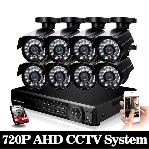 8CH 1080P AHD kit 2000tvl cctv system 1080p HDMI AHD DVR 8pcs 1.0MP 720p AHD camera IR waterproof outdoor cctv camera system