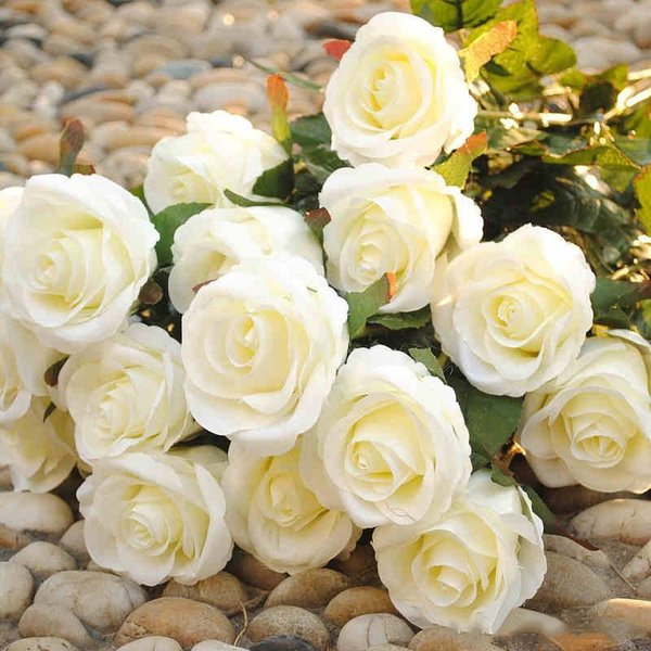 New Styles Artificial Rose Silk Craft Flowers Real Touch Flowers For Wedding Christmas Room Decoration 10 Color Cheap Sale