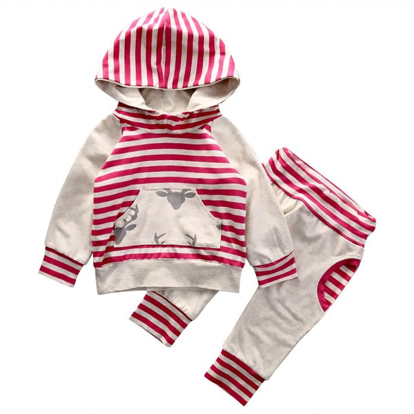 2017 2PCS Toddler Baby Boys Girls Reindeer Red Striped Tops Hooded + Harem Pants Outfits Set 6M-3Y