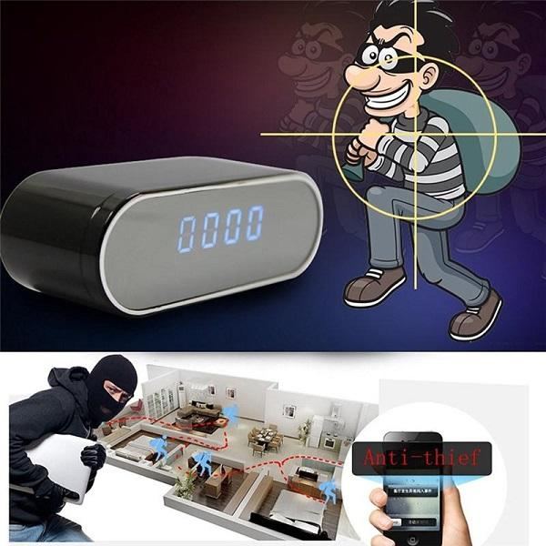 Wifi clock mini ip p2p camera 1080p with night vi ion 160 degree wide angle alarm clock dvr remote monitor home ecurity nanny camera, Black;sliver