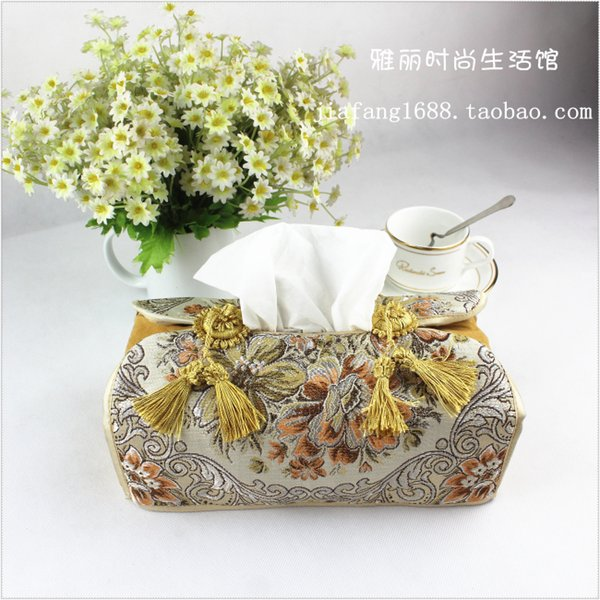 best selling Wholesale- 24*12*10 Cm European Creative Tissue Boxes Gold Embroidered Towel Sets Car Tissue Box Pumping Tray Towel Sets Tissue Case