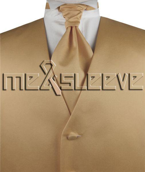 hot sale free shipping plain royal gold casual dresses(vest+ascot tie+cufflinks+handkerchief)