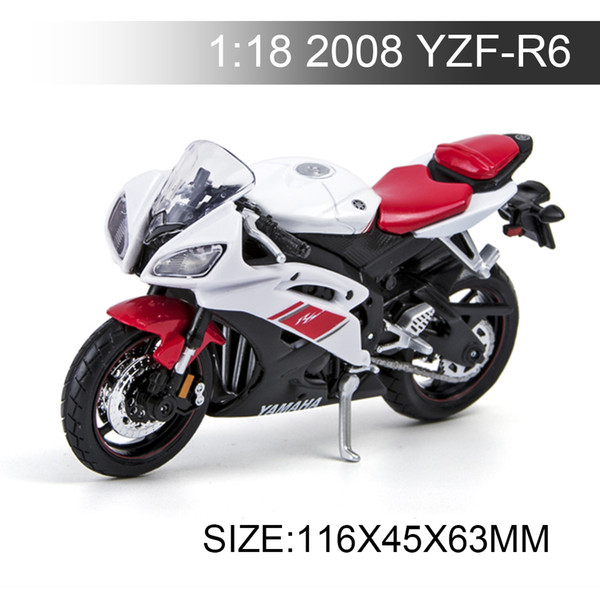 YMH Motorcycle 2008 YZF-R6 1:18 Metal Diecast Models Motor Bike Miniature Race Toy For Gift Collection