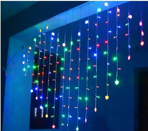 Acheter 2Mx1.6M Forme De Coeur LED Guirlande Lumineuse 34 Coeurs Vacances  Lumières De Noël En Plein Air Mariage Déco Racao Rideau De Lumières UE / US  ...