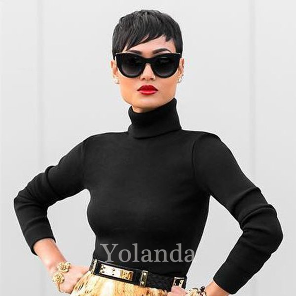 2017 New Pixie Cut Human Hair Wig Rihanna Black Short Cut lace Wigs For Black Women African American Celebrity Wigs Hot Sale