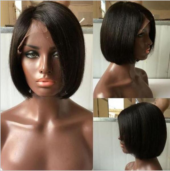 Short bob glueless full lace wigs virgin brazilian human hair bob style lace front wigs for Black Women