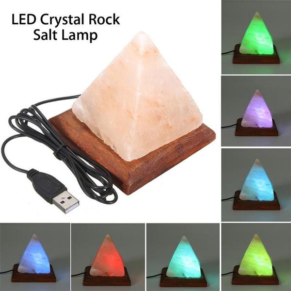 Lampe de sel Table Lampe de bureau Lumière de nuit Pyramide Cristal Roche Lampe en bois Chambre Décoration Maison Chambre Décor Artisanat Ornements Cadeau