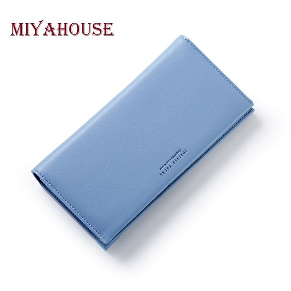 Wholesale- Miyahouse Women Long Wallet Elegant Lady Clutch Purses Female Portable Multifunction Long Solid Color Change Purse Women Clutch