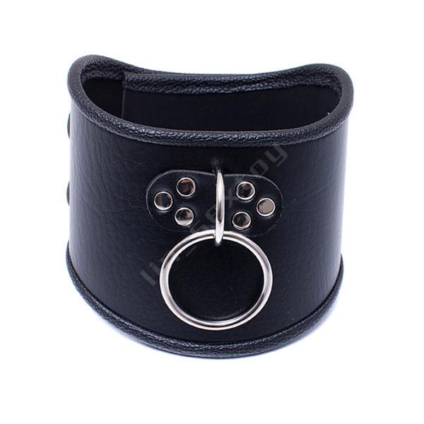 520 * 100mm Choker Noir Collier en cuir avec anneau de traction réglable Ceinture esclave Chien fétichiste BDSM Bondage Collier Sexe produit