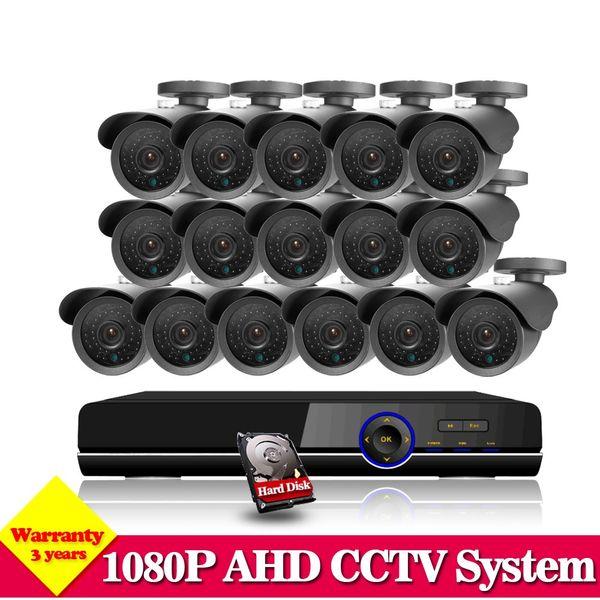 NINI HDMI 1080P CCTV DVR 16CH AHD CCTV System 2.0MP 3000TVL 1080P IR outdoor Security Camera Surveillance System With HDD