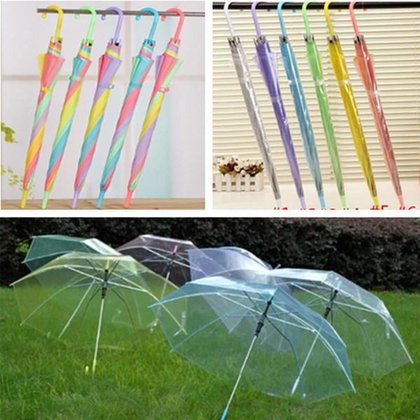 best selling Transparent Clear Umbrellas rainbow EVC Long Handle Umbrellas for boy girl women men 57cm Rain Sun Umbrellas for party Wedding Photo