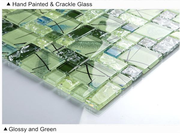 Wandfliese kuche crystal green glass mosaik fliesen pool - Pvc wandfliesen kuche ...