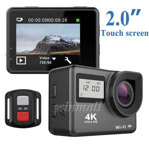 top popular Ultra 4K Action Camera 2 inch Touch Screen Dual Screen H9T 2.4G Remote Control Wifi 30M Waterproof Sports Cam 2020