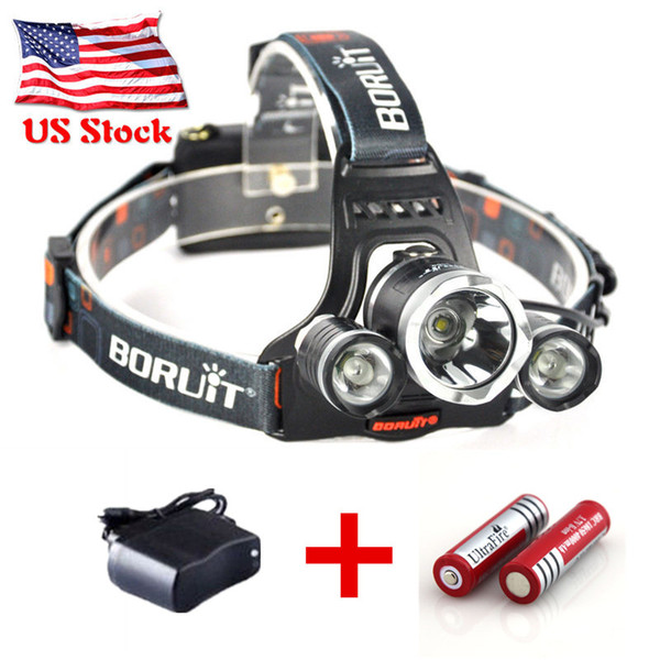 3800LM Tactical T6 Headlight Cree XM-L Rechargeable T6 LED Headlamp Adjustable Focus Lamp + 18650 Battery + Charger