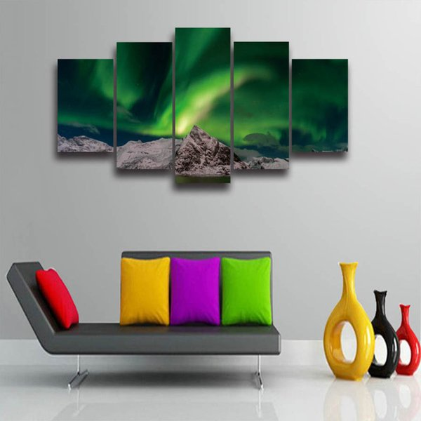 Printed The aurora borealis landscape picture painting spectacle 5 panels set for wall home decoration Canvas art prints poster