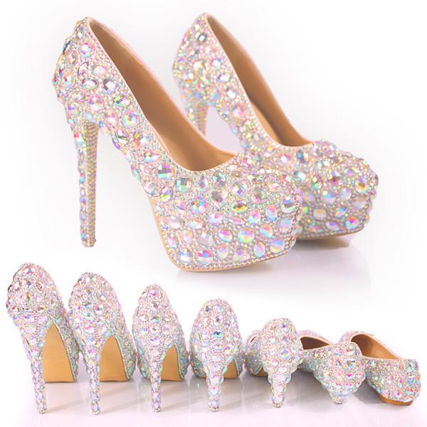 2017 Gelin Düğün Ayakkabı Düğün Pompaları Toka Kristal Yüksek Topuk Ayakkabı Rhinestone İnci Köpüklü Düğün Prenses Ayakkabı Büyük Boy