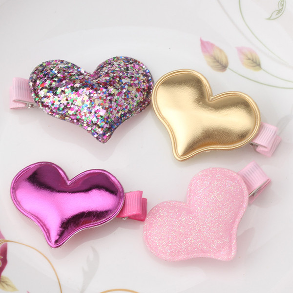 Wholesale- Children Summer Style Metal Color Shiny Butterfly Hairpins Girls Hair Accessories Heart Star Hair Clip for Baby Dress