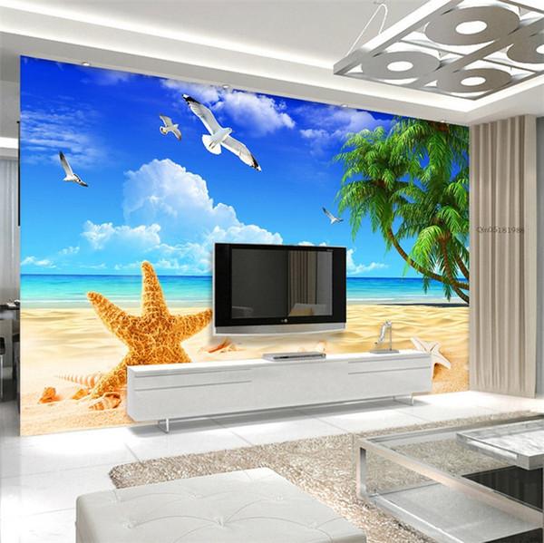 Personalizzato Beach Scenery Starfish Blue Sky 3D foto sfondo Computer stampato soggiorno TV fotografia Sfondo murale carta da parati