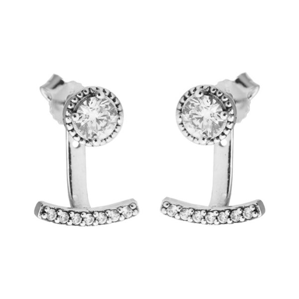 Abstract Elegance Stud Earrings Clear CZ 2017 Spring 100% 925 Sterling Silver Earrings Authentic Fashion Jewelry DIY Charm Brand