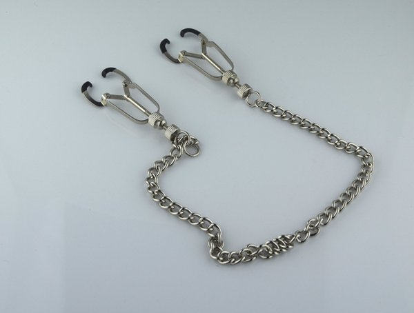 Free shipping New Metal Silver Adult BDSM Sex Toys Fantasy Clamps Clips With Breast Clips Ring with Chain Fetish For Women RX-0013