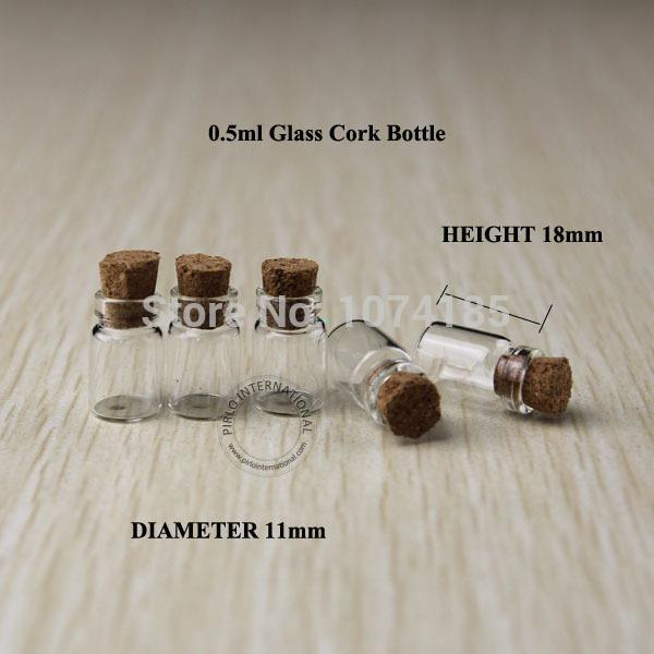 100pcs 0.5ml Glass Vials With Wood Cork Mini Bottle Vial small wishing perfume display bottle Vintage Glassware Clear