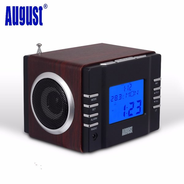 Venta al por mayor-agosto MB300B Mini madera FM Radio reloj receptor y sistema de MP3 estéreo con tarjeta SD / USB IN / AUX IN / 2 x 3W HiFi Loud Speakers