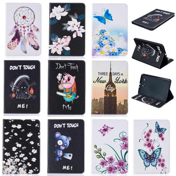 Tablet case For Samsung Tab E 9.6 inch T560 T561 Cover Wallet Stand Leather Case With Card Slots Painting Butterfly tower