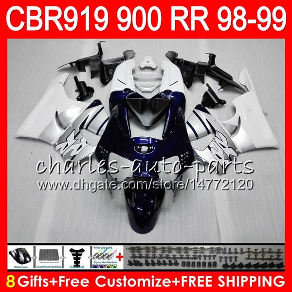 Body For HONDA CBR 919RR CBR900RR CBR919RR 98 99 CBR 900RR TOP White black 68HM8 CBR919 RR CBR900 RR CBR 919 RR 1998 1999 Fairing kit 8Gifts