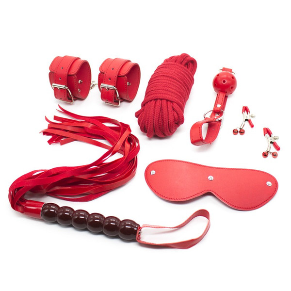 New Great Leather 6 items Sex Bandage Set Fetish BDSM Handcuffs Whip 10m Rope Blindfold Ball Gag Bells Nipple Clamps Bondage Kit