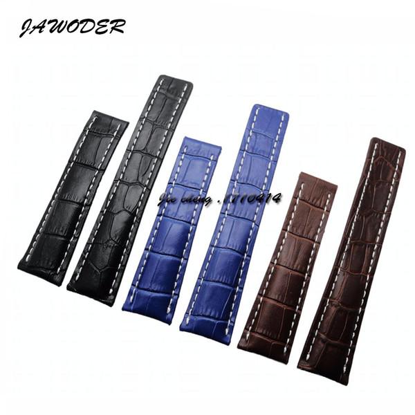 Jawerver pulseira 22mm 24mm preto marrom azul linhas de crocodilo pulseira de relógio de couro genuíno para b-r-e 724 p 739 p 756 p 746 p 743 p