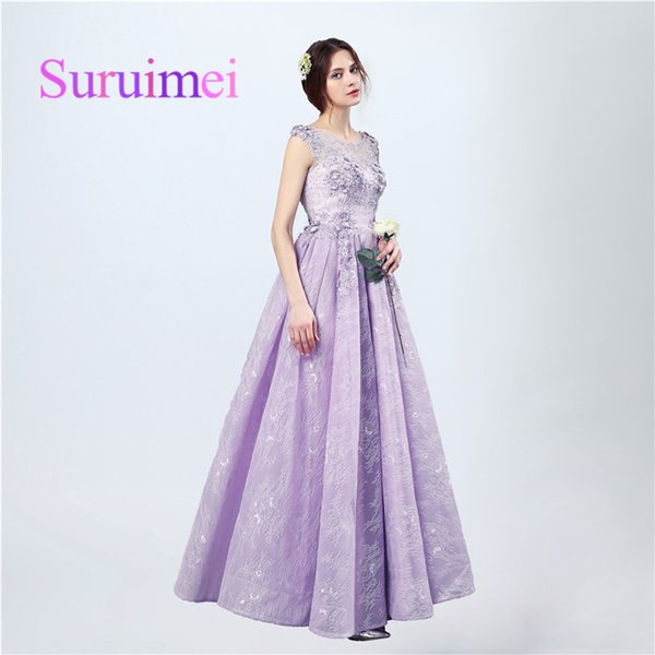 Free Shipping Evening Romantic Long Dresses Scoop Lace-up Backless Floor Length With Beaded Sequin And Pleats Prom Gowns