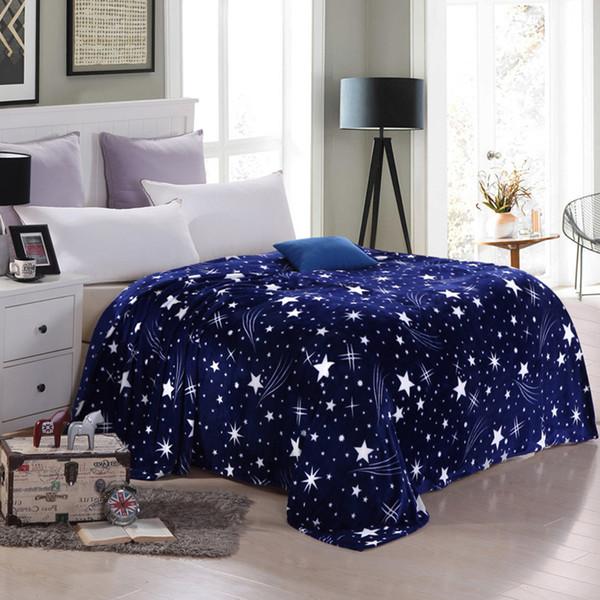 Transporte da gota de Têxteis Para Casa Moda coral cobertores de lã na cama Supre macio estrelas azuis Cobertoria Manta Manta