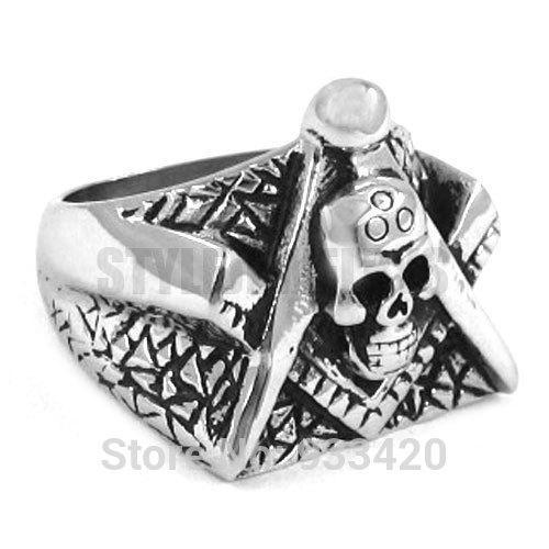 Free shipping! Freemason Masonic Ring Stainless Steel Jewelry Gothic Skull Motor Biker Ring Men Ring SWR0260