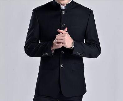 Stage clothing for men chinese tunic suit fashion black grey suits set with pants mens wedding suits formal dress stand collar