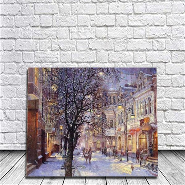 Framed Winter DIY Painting By Numbers Drawing By Painting Kits Painting Hand Painted On Canvas For Home Wall Art Picture For Room Decor