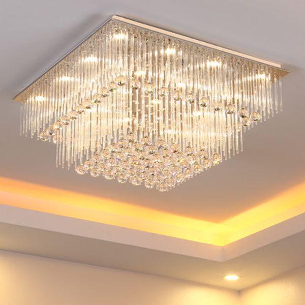 Modern crystal chandelier K9 crystal light square LED pendant lamp creative fashion stairs lamp living room lights LED ceiling light fixture